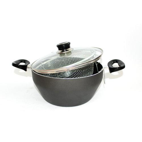 Φριτέζα VENUS Αντικολλητική με Καπάκι Pyrex 24cm